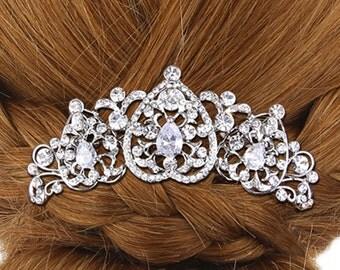 Vintage bridal hair comb,Heart Crystal Hair Comb,Zircon hair comb,wedding hair comb, bridal hair accessories, wedding hair accessories-10601