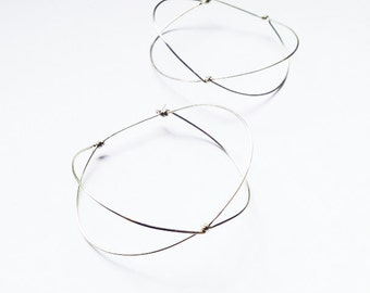 Minimalist hoop earrings. Sterling silver. One wire. Geometric and light. Free delivery