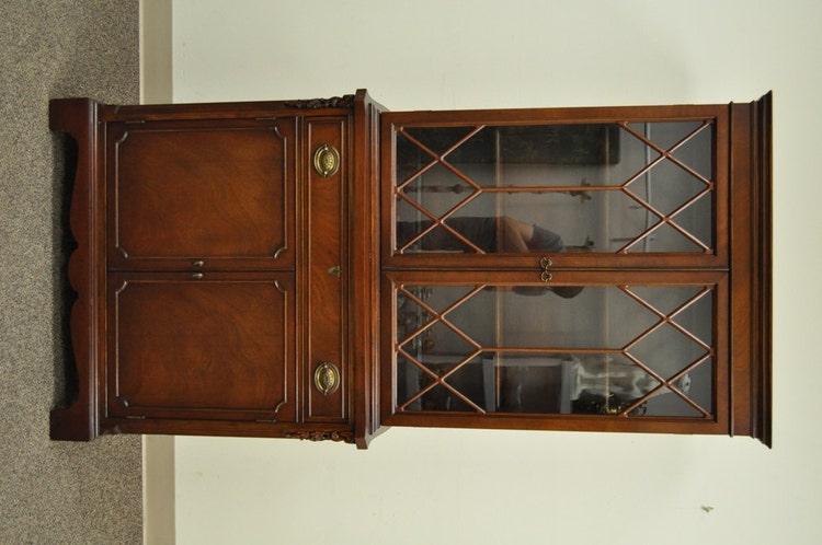 Vintage Mahogany Small Traditional China Cabinet By