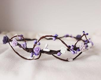 Wedding Floral Crown with White and Violet Roses, Bridal Headpiece, Flower Crown, Bride, Wedding Crown