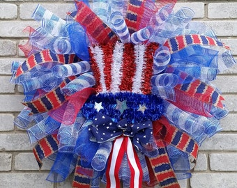 Patriotic Red White and Blue Spiral Wreath Military Fourth of july wreath American Pride