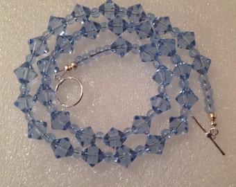 Handmade Glass Beaded Necklace with blue beads