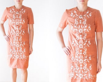 Vintage Boho Embroidered Dress // Floral Pattern Dress // Orange Shift Dress // Boho Midi Dress // Vintage Women's Clothing // Size Small