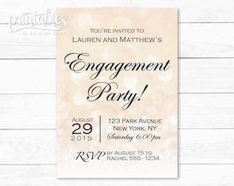 Engagement Party Invites Beige Bokeh - Sparkle Engagement Invitations DIY - Elegant Engagement Invitation Printable - Wedding Shower Invite