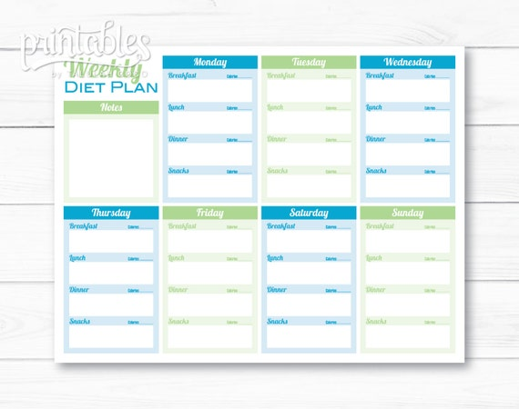Weekly Diet Planner PDF, Meal Planner Template, Printable Menu Planner  Instant Download, Fitness Planner, Food Journal With Calorie Counter  Calorie Diary Template