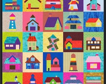 Houses, Buildings, Windmills, Homes - 25 Quilt Block Patterns - Foundation Paper Piece Patch - PDF Download