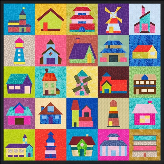 Houses Buildings Windmills Homes 25 Quilt Block Patterns