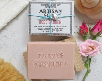 Rose Soap with Dish - Artisan Soap from the Coast // Handmade Soap, Natural Soap, Vegan Soap, Rose Geranium, Rose Clay, Skincare, Soap Gift