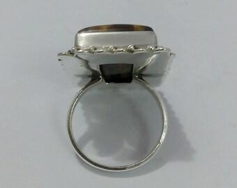 tiger eye beautifull square 20 ct. cabushon semi precious stone sterling silver stone ring