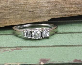 Estate 10K White Gold 3 Stone Estate Diamond Ring 1/3 CT