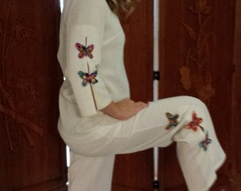 Vintage Japanese Style Butterfly Embellished PantsSuit