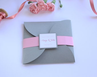 Petal Pocket Wedding Invitation, Pouchette Wedding Invitation, Grey Wedding Invitation, Square Invitation, Wedding Invitation Set
