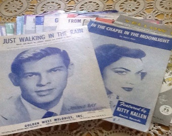 51 piece collection, Vintage 1930-1960 sheet music collection, piano, jukebox, band, rock, pop, doo wop