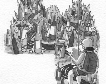 Wine Questions Original Ink Wash Illustration Painting