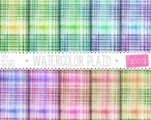 "Plaid digital paper : "" Watercolor Plaid "" tartan digital paper in colorful, rainbow colors in shabby chic style, vintage plaid paper"