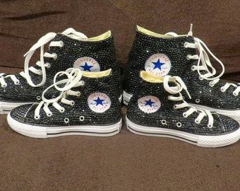 Full-Shoe High-Top Bedazzled Rhinestone Converse (more colors available)