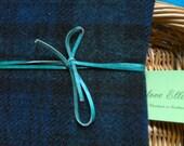 Harris Tweed Boswell Bujo Notebook Cover - A5 size - Black Watch Blackwatch Tartan Leather Wrap Tie - Handmade writing journal wedding guest