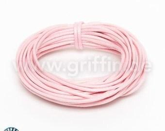 Wax Ribbon, 1 mm, light pink, 5 m, cotton Ribbon, jewelry