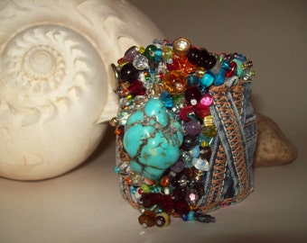 Turquoise and Mulitcolored Beaded Cuff Bracelet