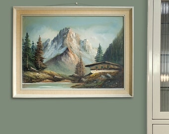 Vintage painting art oil on canvas mountains Mid Century Germany signed Berger