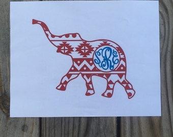 Aztec Elephant Vinyl Decal~Alabama Elephant~ Monogramed Aztec Elephant Vinyl Decal