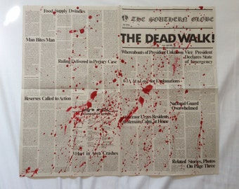 George A. Romero's DAY of the DEAD The Dead Walk! Newspaper Prop Replica BLOOD Splattered Version 3