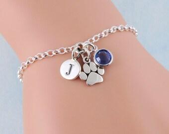 Silver Paw Print Bracelet, Pet Bracelet, Personalized Bracelet, Sterling Silver Initial Bracelet, Birthstone Bracelet, Charm Bracelet, Pets