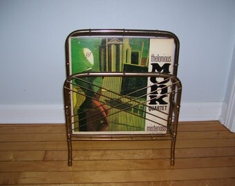 Metal Record Holder, Metal Magazine Rack, Towel Holder Gold Metal Bamboo Vintage