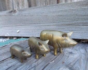 Vintage Brass Pig Set of 3