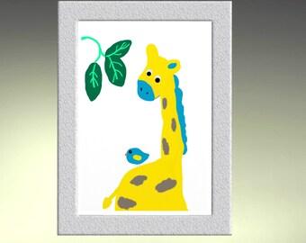 Giraffe jungle safari nursery print yellow and blue or personalize colors wall art prints kids room gift modern nursery Print wall art