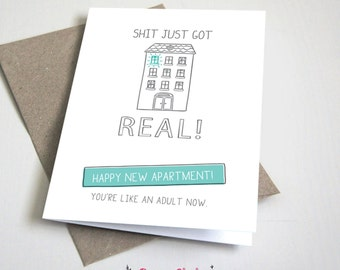 Shit just got real happy new apartment CARD / Moving / House Warming / Teal and Grey / 5x7 Folded Card – Printable DIY, Instant Download