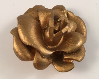 Blooming Rose Brooch Pin - Antique Gold