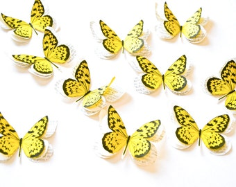 Yellow butterflies, butterfly birthday decorations, butterfly baby shower decorations, yellow decor, yellow wall decor, yellow wall art