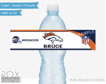 Denver Broncos Party Water Labels, Printable Labels, Digital – Customized