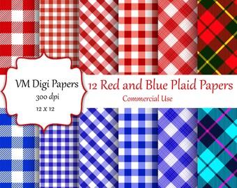 Red and Blue Plaid Digital Paper, Plaid Background, Plaid Digital Paper, Gingham Paper, Digital Paper, Red Blue Gingham Digital