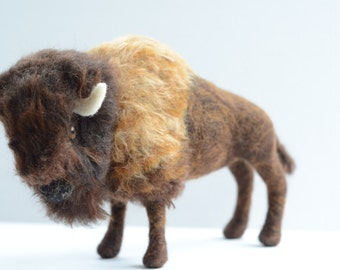 Needle Felted American Bison, Made to Order, Needle Felted Buffalo, American Bison Scupture, Buffalo Sculpture