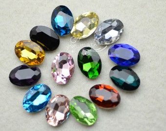 100 PCS 10mm x 14mm Colour Glass Faceted Glass Oval Jewels