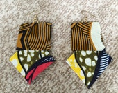 W. Africa- Beautiful handcrafted earrings made from authentic West African cotton fabric