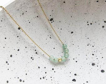 CA necklace Aventurine of pearls - brass gold plated