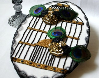 Nippies beads sequins Golden Peacock feathers under his bird cage frame with beaded hand / / cabaret boudoir / / gifts for her.