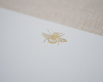 Gold Foil Bee Letterpress Note Cards /  Gold Bee Foiled on Back Flap of envelopes too! / Unique Note Card Set / Great Gift Idea Under 20