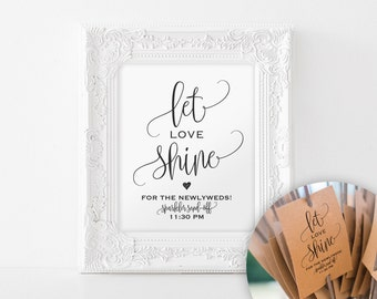Sparkler Sendoff Sign, Sparkler Sign, Let Love Shine Sign, Sparkler Send Off, Wedding Sparkler Tags, Sign, PDF Instant Download #BPB203_46