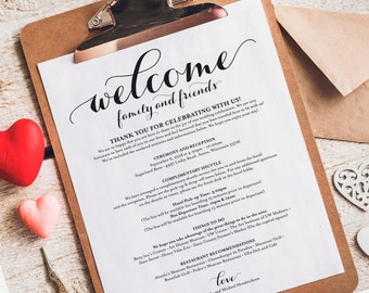 Wedding Itinerary, Welcome Bag, Printable Itinerary, Welcome Letter, Wedding Favor, Wedding Printable, PDF Instant Download #BPB133_53