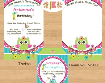 Owl invitations Birthday or Baby Shower Printed Invitations