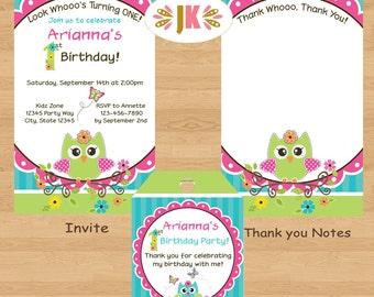 Owl invitations Birthday or Baby Shower Printed Invitations