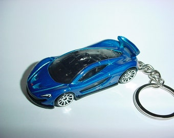 3D McLaren P1 custom keychain by Brian Thornton keyring key chain finished in blue racing trim