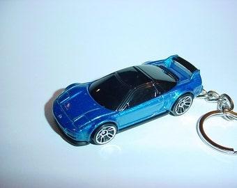 3D 1990 ACURA NSX custom keychain by Brian Thornton keyring key chain finished in blue/black color trim diecast metal body honda 90