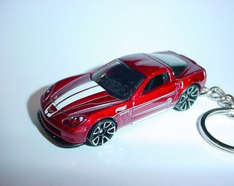 3D Chevrolet Corvette custom keychain by Brian Thornton keyring key chain finished in red racing colors trim metal body