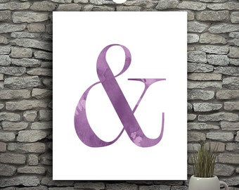 Minimalist Decor Letters For Wall Decor Letters, Modern Poster, Purple Watercolor Printable Letters, Purple Wall Decor, Ampersand Print