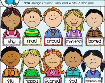 Children Feelings Faces and Labels Clip Art Set 1 - Chirp Graphics